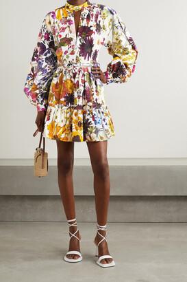 Oscar de la Renta - Belted Floral-print Cotton-blend Poplin Mini Dress - White