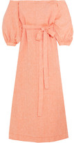 Lisa Marie Fernandez Off-the-shoulder Linen Maxi Dress - Peach