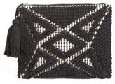 Sole Society Palisades Tasseled Woven Clutch - Black
