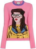 Gucci Crystal Embellished Woman Intarsia Wool Sweater