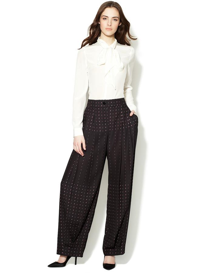 Emporio Armani Printed Pleated Front Tuxedo Pant