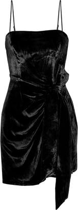 Cinq à Sept Kiki Knotted Draped Velvet Mini Dress