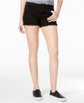 Vanilla Star Juniors' Crochet-Trim Denim Shorts