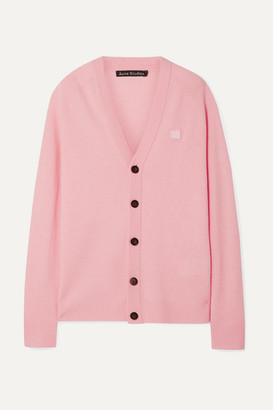 Acne Studios Neve Face Appliqued Wool Cardigan - Baby pink