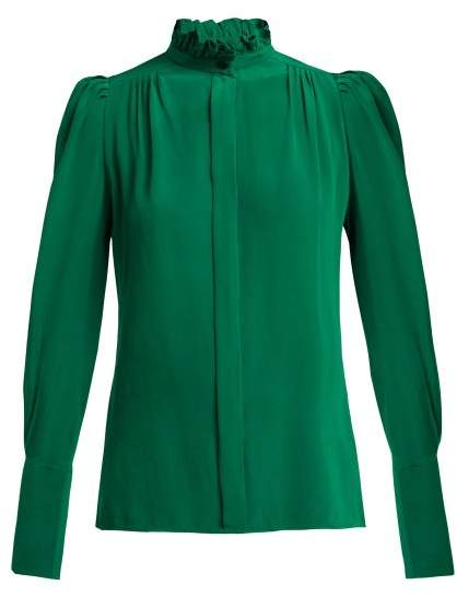 Isabel Marant Lamia Ruffle Trim Silk Blouse - Womens - Dark Green