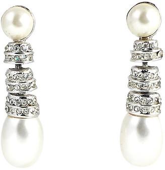 One Kings Lane Vintage Rhinestone & Pearl Drop Earrings - Owl's Roost Antiques