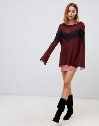 Moon River colourblock knit jumper-Brown