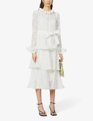 Zimmermann Lovestruck floral-broderie puff-sleeve cotton midi dress
