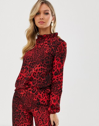 AX Paris animal print long sleeve blouse
