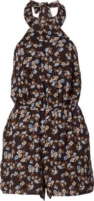 Lucca Couture Women's Print High Neck Halter Tie Romper