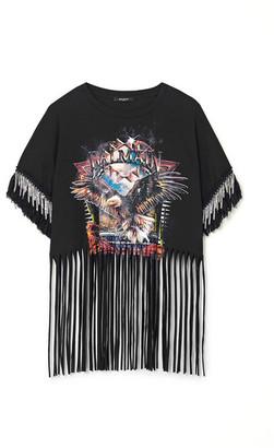 Balmain Fringed Embellished Printed Cotton-jersey T-shirt - Black
