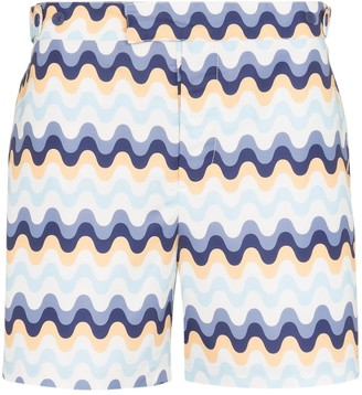 Frescobol Carioca Copacabana wave pattern swim shorts
