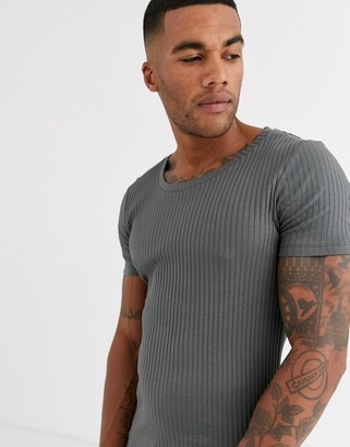 Asos Design DESIGN muscle fit t-shirt with scoop neck in rib in washed black-Grey