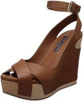 Ralph Lauren Women's Filaria Ankle Strap Wooden Wedge Sandal