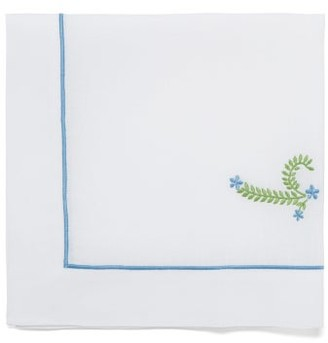 Angela Wickstead - Set Of Four Floral-embroidered Linen Napkins - White Multi