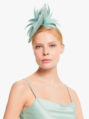 John Lewis & Partners Nicole Feathers Teardrop Small Occasion Hat, Pastel Blue