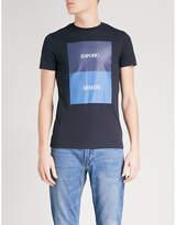 Emporio Armani Block Square Logo-print Cotton-jersey T-shirt