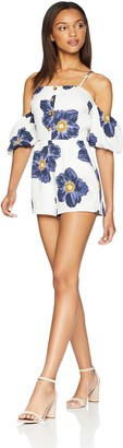J.o.a. Women's Printed Cold Shoulder Romper with Front Buttons