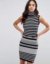 Lipsy Roll Neck Striped Jumper Dress