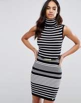 Lipsy Roll Neck Striped Sweater Dress