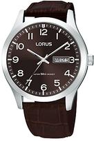 Lorus Rxn41dx9 Day Date Leather Strap Watch, Dark Brown
