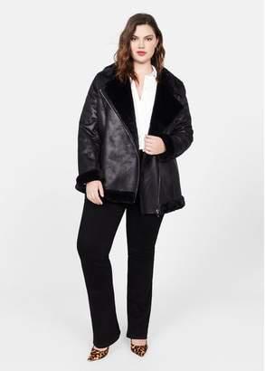 MANGO Violeta BY Faux fur biker jacket black - XS - Plus sizes