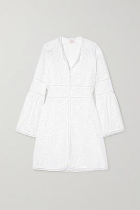 Loretta Caponi Giulia Broderie Anglaise Cotton Mini Dress - White