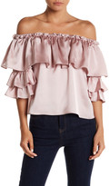 Blvd Off-The-Shoulder Ruffle Satin Blouse