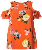 Dorothy Perkins Coral Floral Cold Shoulder Top