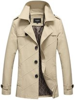 Chouyatou Men's Classic Collared Single Breasted Lightweight Cotton Jacket