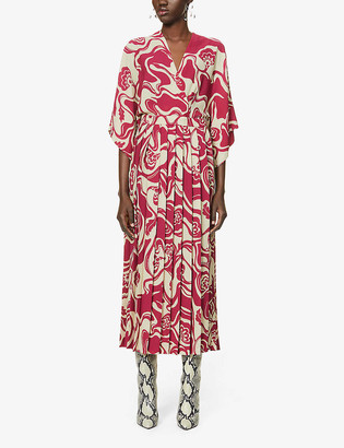 Dries Van Noten Floral-print stretch-crepe midi dress