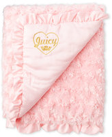 juicy couture Pink Faux Sherpa & Satin Baby Blanket