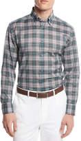 Brioni Plaid Button-Front Shirt, Green/Pink