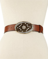 Style&Co. Distressed Rhinestone Plaque Belt