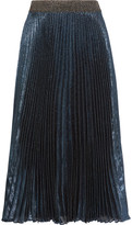 Christopher Kane Pleated Silk-blend Lamé Midi Skirt - Storm blue