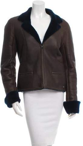 Chanel Notch Lapel Shearling Jacket
