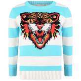Gucci GUCCI*EXCLUSIVE* Boys Turquoise Striped Cotton Knit Sweater
