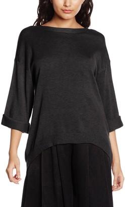 MinkPink Women's Start Over V Neck Knit Plain 3/4 Sleeve Tops