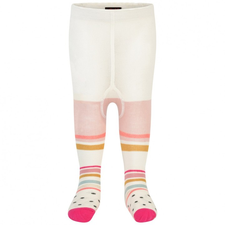 Girls Ivory Striped Tights