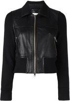 3.1 Phillip Lim leather sweater-jacket - women - Lamb Skin/Viscose/Wool/Spandex/Elastane - 2