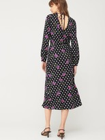 Very Floral Spot Mix Long Sleeve Tie Back Dress - Floral Print