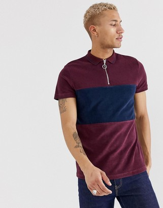 Asos Design DESIGN polo shirt with zip neck and contrast panel in towelling-Red