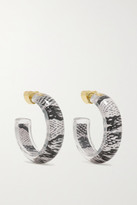 Thumbnail for your product : Alison Lou Jelly Snake 14-karat Gold, Lucite And Enamel Hoop Earrings - Gray