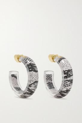 Alison Lou Jelly Snake 14-karat Gold, Lucite And Enamel Hoop Earrings - Gray