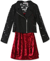 Speechless 2-Pc. Lace Moto Jacket and Velvet Dress Set, Big Girls (7-16)
