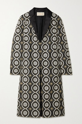 Tory Burch Satin-trimmed Embellished Organza Jacket - Black