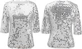 Kuji Women Sequin Sparkle Glitter Tank Cocktail Party Tops Shining T-Shirt Blouses (XXXL, )