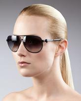 Alexander McQueen Classic Aviator Sunglasses, Black