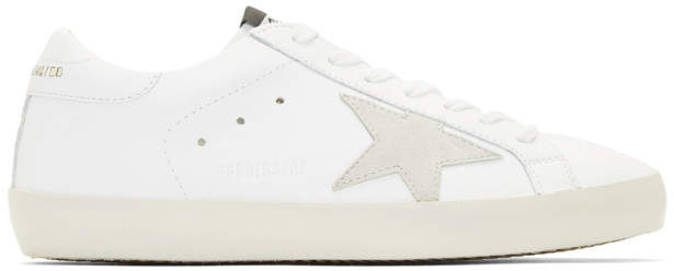 Golden Goose White and Gold Lettering Sneakers