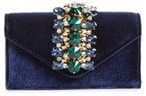 Sondra Roberts Crystal Embellished Velvet Box Clutch - Blue